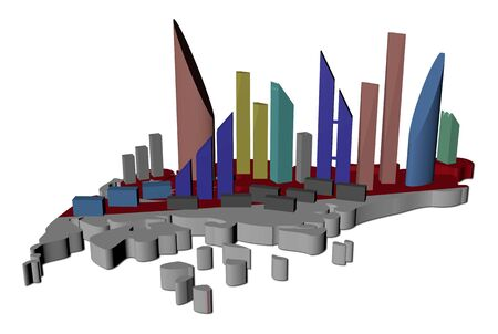 singaporean flag: abstract skyscrapers on Singapore map flag illustration
