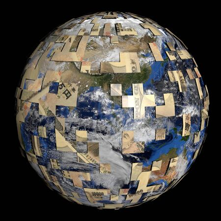 sphere of influence: earth partially covered by Japanese Yen sphere illustration Stock Photo