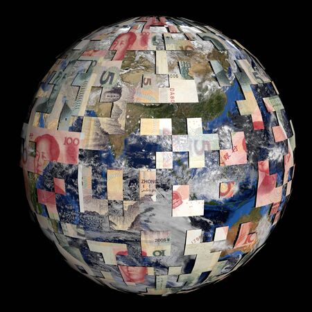 sphere of influence: earth partially covered by Chinese Yuan sphere illustration Stock Photo