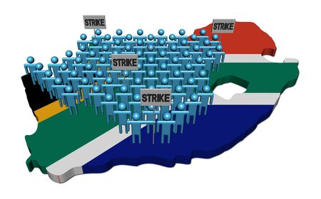 workers on strike on South Africa map flag illustration illustration