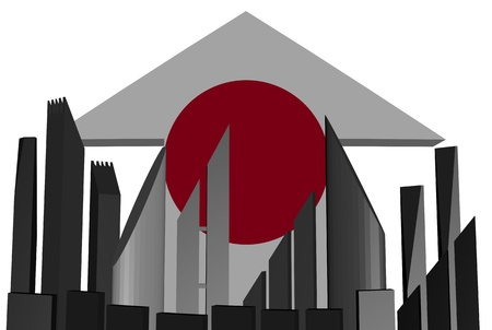 economic recovery: abstract skyline and Japan flag arrow illustration