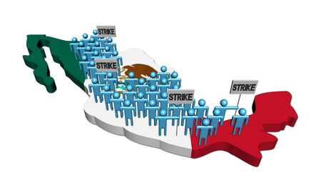 workers on strike on Mexico map flag illustration illustration