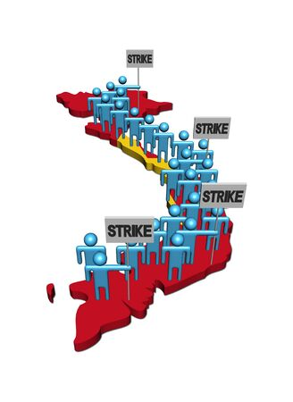 demonstrate: workers on strike on Vietnam map flag illustration Stock Photo