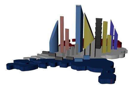 abstract skyscrapers on Netherlands map flag illustration illustration