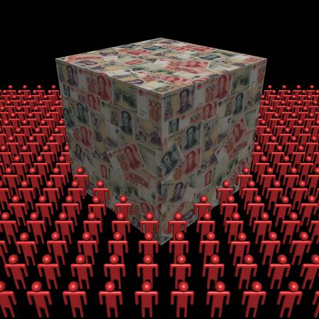 yuan: Chinese Yuan cube surrounded by people illustration