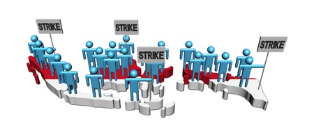 workers on strike on Indonesia map flag illustration illustration