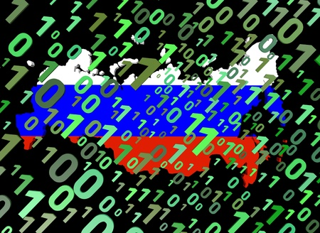 binary and Russian Federation map flag ilustration photo