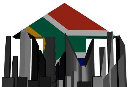 abstract skyline and South Africa flag arrow illustration illustration