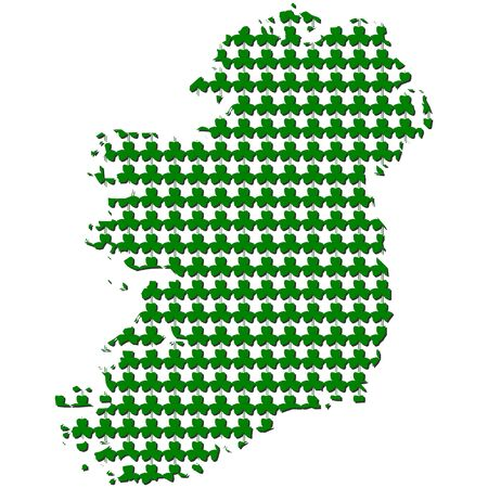 Ireland map with shamrock background illustration Stock Illustration - 12615731