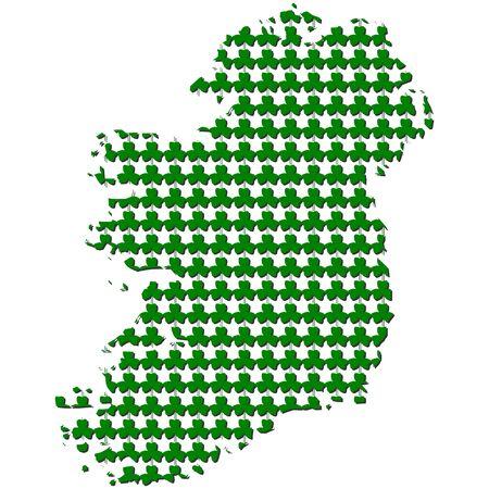 Ireland map with shamrock background illustration Stock Illustration - 12615731