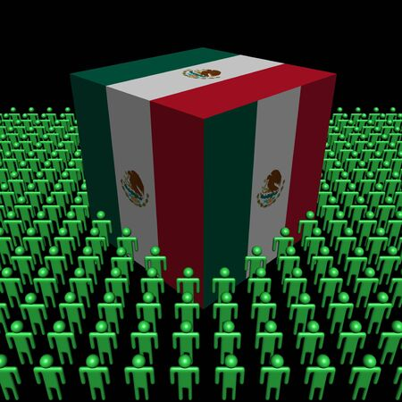 Mexican flag cube surrounded by people illustration illustration