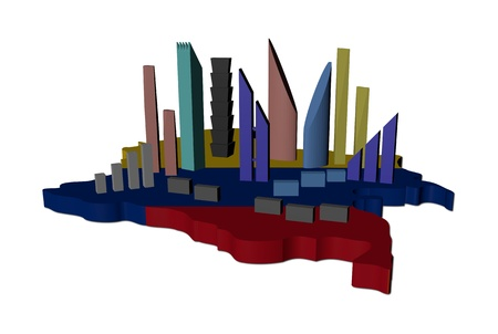 abstract skyscrapers on Colombia map flag illustration illustration