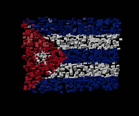 cuban flag: Cuban flag on blocks illustration