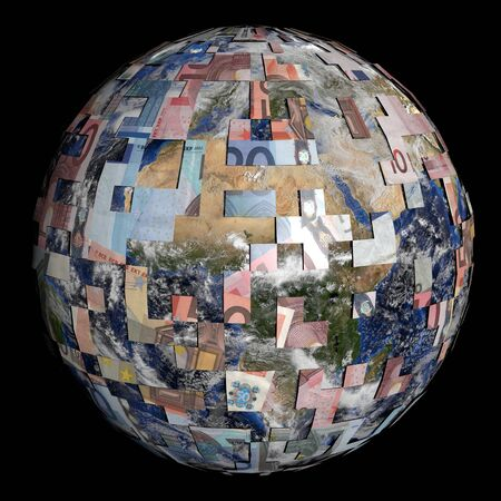 sphere of influence: earth partially covered by Euros sphere illustration