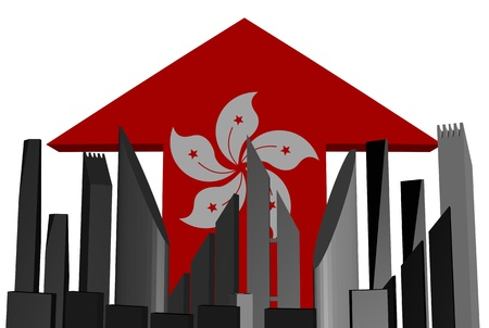 abstract skyline and Hong Kong flag arrow illustration illustration