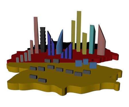 abstract skyscrapers on Germany map flag illustration illustration