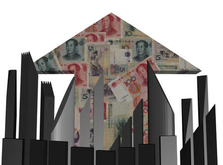 yuan: abstract skyline and Chinese Yuan arrow illustration Stock Photo