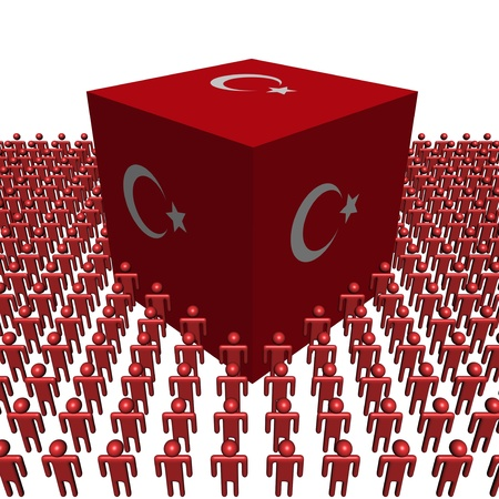 turkish flag: Turkish flag cube surrounded by people illustration