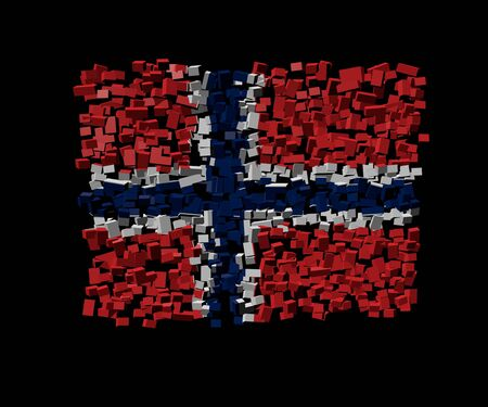norwegian flag: Norwegian flag on blocks illustration