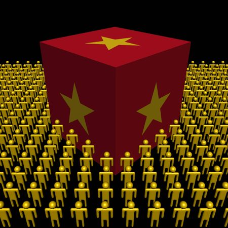 Vietnam flag cube surrounded by people illustration illustration