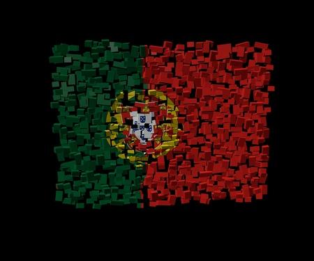 portuguese: Portuguese flag on blocks illustration