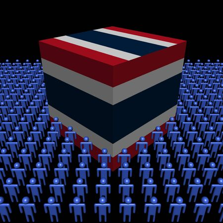Thai flag cube surrounded by people illustration Stock Illustration - 12892367