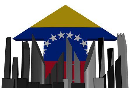 venezuelan: abstract skyline and Venezuelan flag arrow illustration