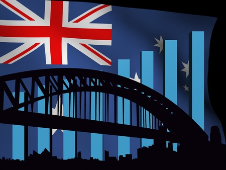 sydney skyline: Sydney skyline and graph over flag illustration Stock Photo