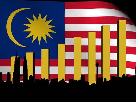 Kuala Lumpur skyline and graph over flag illustration Stock Illustration - 12892378