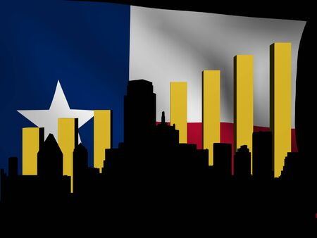texan: Dallas skyline and graph over Texan flag illustration Stock Photo