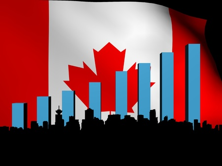 Vancouver skyline and graph over Canadian flag Stock Photo - 13197998
