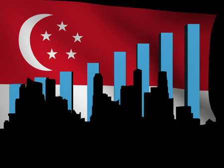 Singapore skyline and graph over flag illustration Stock Photo - 13198036