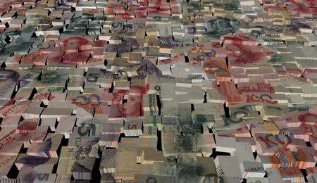 yuan: Chinese Yuan on blocks background illustration