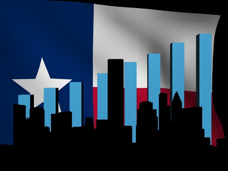 texan: Houston skyline and graph over Texan flag illustration