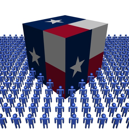texan: Texan flag cube surrounded by people illustration Stock Photo