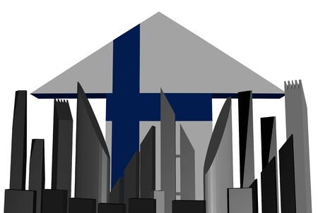finnish: abstract skyline and Finnish flag arrow illustration