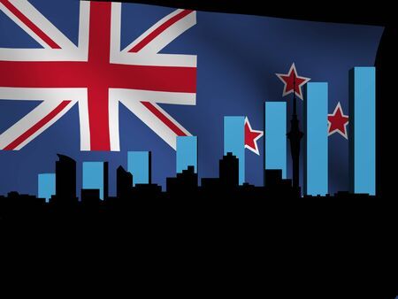 Auckland skyline and graph over New Zealand flag illustration illustration
