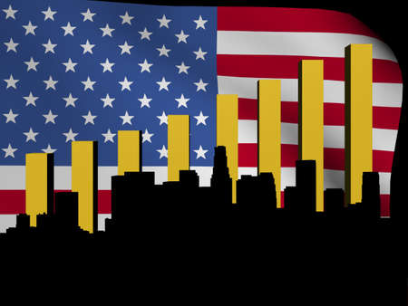Los Angeles skyline and graph over American flag illustration Stock Illustration - 13612703