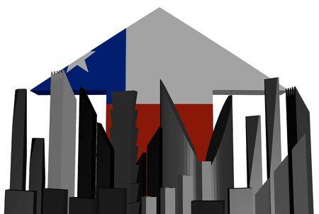 bandera chilena: abstracto horizonte y la ilustraci�n chilena bandera de la flecha Foto de archivo