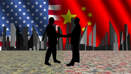 negotiator: American chinese meeting with skyline flags and currency illustration Stock Photo
