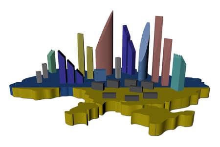 abstract skyscrapers on Ukraine map flag illustration Stock Illustration - 13612728