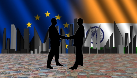 negotiator: European Indian meeting with skyline flags and currency illustration Stock Photo