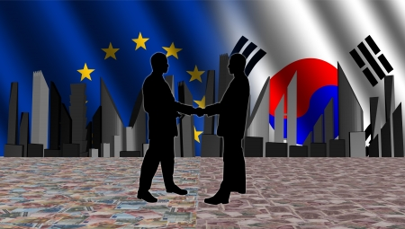 south korean won: European South Korean meeting with skyline flags and currency illustration