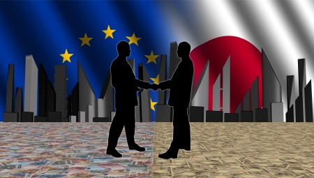 negotiator: European Japanese meeting with skyline flags and currency illustration