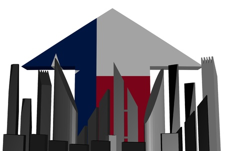 texan: abstract skyline and Texan flag arrow illustration Stock Photo