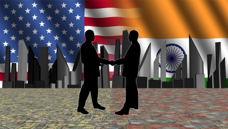 negotiator: American Indian meeting with skyline flags and currency illustration Stock Photo