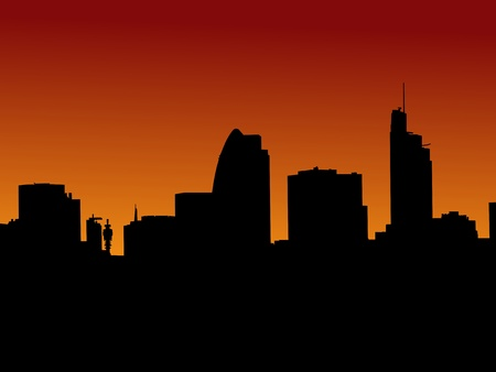 London skyline at sunset illustration illustration
