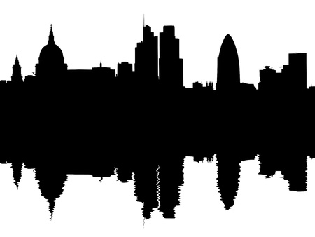 gherkin building:  London skyline reflected with ripples illustration Stock Photo