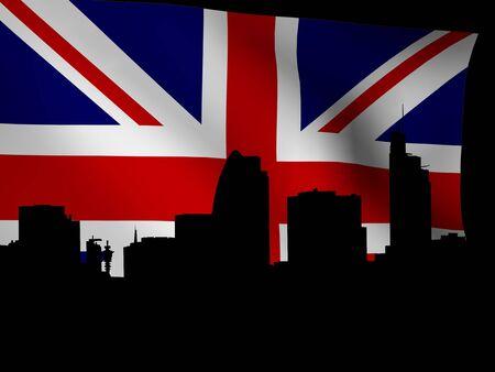 gherkin building: London skyline with rippled flag illustration