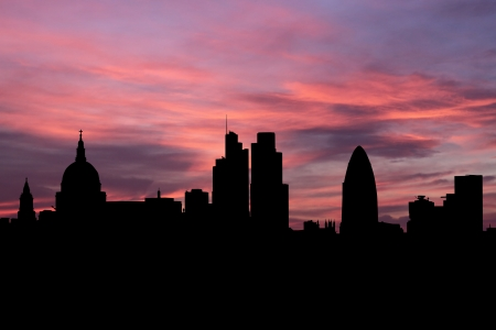 London skyline at sunset illustration